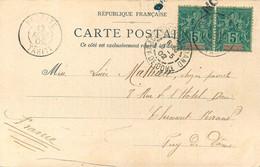 TAHITI - 1902 - CARTE AU DEPART De PAPEETE - PAIRE Du TIMBRE OCEANIE N° 4 - SAGE 5C.  VERT - Brieven En Documenten