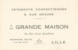 Nord - Chromo Carte Publicitaire - La Grande Maison à Lille 8 Rue Léon Gambetta - Vêtement Sur Mesure - Visiting Cards