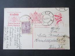 Rumänien 1922 Ganzsache P78 Mit Zusatzfrankatur Auslandskarte Sibiu Bach Wien Gesendet Weihnachtswünsche - Covers & Documents