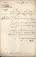 Autographe Marie Victor FAY Marquis De Latour Maubourg Général Aide De Camp Kleber En Egypte Ministre De La Guerre - Autógrafos