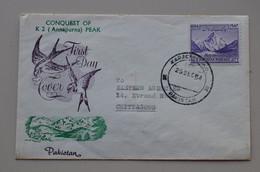 Pakistan 1954 Rare FDC Conquest Of K2 (Annapurna) Peak Mountains Himalaya - Escalada