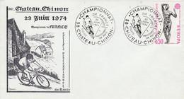 CHAMPIONNAT DE FRANCE CYCLISTE A CHATEAU CHINON NIEVRE 1974 - Gedenkstempels