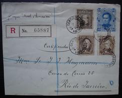 Argentina 1892 Entier Postal Recommandé Avec Complément Pour Rio De Janeiro  (Vapor Nord America) Devant De Lettre - Storia Postale