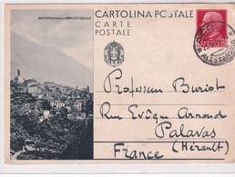 ITALIE - 1934 - CP ENTIER ILLUSTREE (VUE DE ANVERSA DEGLI ABRUZZI) De ACQUI (RARE Mi P96) => PALAVAS - Entiers Postaux