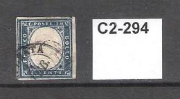 Sardinia 1855 20c Blue - Sardinië
