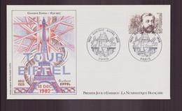 """France, FDC, Enveloppe Du 18 Décembre 1982 à Paris """" Gustave Eiffel """" - 1980-1989"""