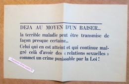 """Affiche """"sur Les Dangers De La Syphilis"""" (film """"Le Poison Lent"""" Années 1940's - Collections"""