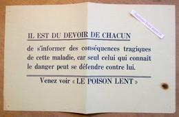 """Affiche Syphilis, Film """"Le Poison Lent"""" Années 1940's - Collections"""