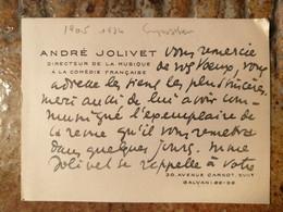 Musique André Jolivet 1905/1974. Compositeur Français. - Autógrafos