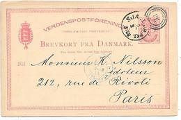 Denmark - Postal Stationary - 1884 Ambulant 86-Sjæll.JB.PKT Kjøbenhavn-Frederikssund - To France - Postal Stationery