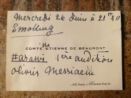 Comtesse Étienne De Beaumont, Concernant Olivier Messiaen - Autógrafos
