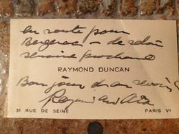 Raymond Duncan, Frère D'Isora Duncan, Philosophe, Artiste, Poète 1874/1966 - Autógrafos
