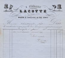 Facture Illustrée Chapeaux 1/6/1860 LACOTTE Chapellerie à L'élégant LIMOGES Haute Vienne - 1800 – 1899