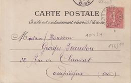 """FRANCE : CP . 10 Cts . TYPE SEMEUSE . OBL .  """" PARIS DEPART LETTRES """" . 1905 . - Briefe U. Dokumente"""