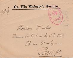 GB DEVANT DE LETTRE DE SERVICE 1917 - Briefe U. Dokumente