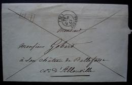 Yvetot 1845 Lettre En Port Payé Pour Mr Gobert Au Château De Bellefosse Commune D'Alouville - 1801-1848: Precursori XIX