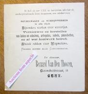 Bernard Van Den Thooren, Gezondheidstraat Gent, Meubelmaker En Schrijnwerker In Alle Slach - Collezioni