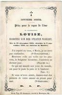 WAILLET - Louise Baronne VAN DER STRATEN WAILLET - °1805 Et Décédée Au Château 1860 - Andachtsbilder