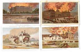LOT De 4 IMAGES CHROMOS - Evènement De Paris 1870-1871, Palais Royal,Ministère Guerre, La Fouilleuse,Montretout - Sonstige