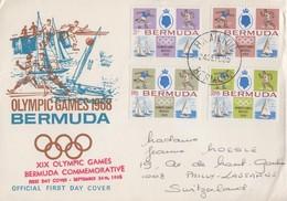 Enveloppe  FDC  1er  Jour  BERMUDES  Jeux  Olympiques  MEXICO   1968 - Estate 1968: Messico