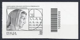 Italia / Italien 2020 Fibonacci Con Codice A Barre / Postfrisch Mit Strichkode - Bar-code