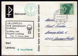Switzerland Schoeftland 1970 / Ballonflug Der Jungwacht Aargau / Ballonpost, Balloon Mail / HB Bom - Altri (Aria)