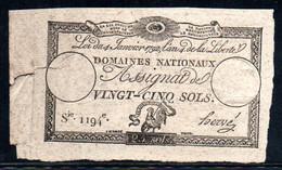 538-Assignat De 25 Sols 1792 Série 1194, Déchirure à Gauche - Assignats