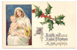 Christmas Madonna Holy Mother And Child Vintage Raphael Tuck Postcard Lithograph - Andere