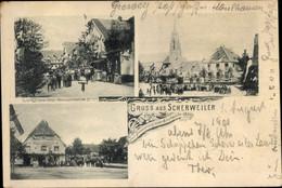 CPA Scherwiller Scherweiler Elsass Bas Rhin, Kirchek, Straßenpartie, Gasthaus - Altri Comuni