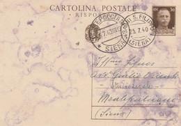 10216.  Cartolina Intero Postale Da Bagni S. Filippo Per Montepulciano Siena - 1940 - Entiers Postaux