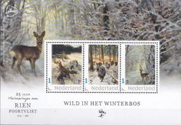 Nederland - 17 November 2020 - Rien Poortvliet - Velletje -  Wild In Het Winterbos - Vos/everzwijn/ree - MNH - Private Stamps