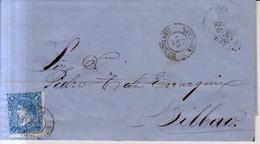 Año 1865 Edifil 75 4c Sello Isabel II  Carta Matasellos Santoña Santander - Cartas