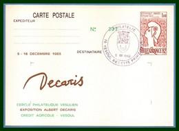Entier Cp Repiqué VESOUL 1983 Bureau Temporaire BT Philatélie TB Exposition Albert Décaris - Overprinter Postcards (before 1995)