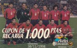SPAIN - National Football Team, Airtel Prepaid Card 1000 Ptas, Exp.date 30/11/98, Used - Sport