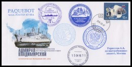 """RAE-61 RUSSIA 2015 COVER Used ANTARCTIC EXPEDITION """"ADMIRAL VLADIMIRSKY"""" OCEANOGRAPHY SHIP Paquebot Cape Town Mailed - Antarktis-Expeditionen"""