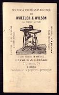 1876 Cartão Bilhete THEATRO Do GYMNASIO, Publicidade Maquina Costura LISBOA Sewing Machine WHEELER & WILSON Portugal - Sonstige