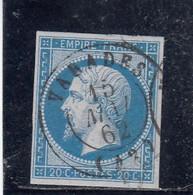 France - Année 1854 - N°YT 14A - 20c Bleu - Obl. Càd - 1853-1860 Napoleone III