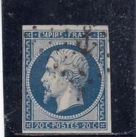 France - Année 1854 - N°YT 14A - 20c Bleu - Obl. Ancre - 1853-1860 Napoleone III