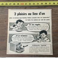 PUB PUBLICITE TINTIN HERGE POTALUX  CHEQUES TINTIN - Collezioni