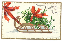 Signed Clapsaddle Sled With Mistletoe 1907 Embossed Gilt Christmas Postcard UND - Andere