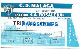 148583 SPORTS SOCCER FUTBOL STADIUM LA ROSALEDA C. D MALAGA VS CELTA TICKET ENTRADA NO POSTCARD - Unclassified
