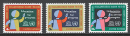 UN New York 1964 Mi# 145-47** UNESCO WORLD CAMPAIGN FOR UNIVERSAL LITERACY AND FOR FREE COMPULSORY PRIMARY EDUCATION - Unused Stamps
