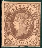 SPAIN 1862 4cu BROWN ON REDISH BUFF ISABELLA** (MNH) - Postfris – Scharnier