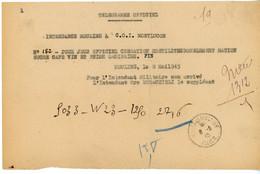ALLIER TELEGRAMME OFFICIEL GUERRE 1945 MOULINS VOIR LE SCAN - 1921-1960: Periodo Moderno