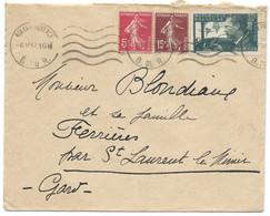 ENVELOPPE 1937 / AIX EN PROVENCE POUR ST LAURENT LE MINIER / YT N° 338 JEAN MERMOZ - 1921-1960: Modern Tijdperk