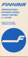 Finnair - Advance Timetable 1980 - 18 Seiten - Europe