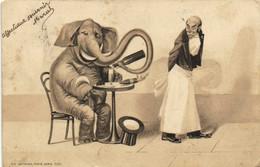 Illustrateur Un Elephant Humanisé Se Servant à Boire Tout Seul Avec Sa Trompe Recto Verso - Sonstige