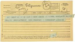 ALLIER TELEGRAMME OFFICIEL GUERRE 1939 MOULINS VOIR LE SCAN - 1921-1960: Periodo Moderno