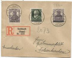SAARGEBIET 15CX2+60 PF SARRE LETTRE COVER BRIEF REC SULZBACH 12.6.1920 - Covers & Documents