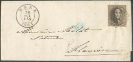 N°10 - Médaillon 10 Centimes Brun Foncé, TB Margé, Obl. P.58 S/L. DeHEERle 30 Oct. 1861 Vers Flavion, Via DcANTHEE *. - 1858-1862 Medaillen (9/12)